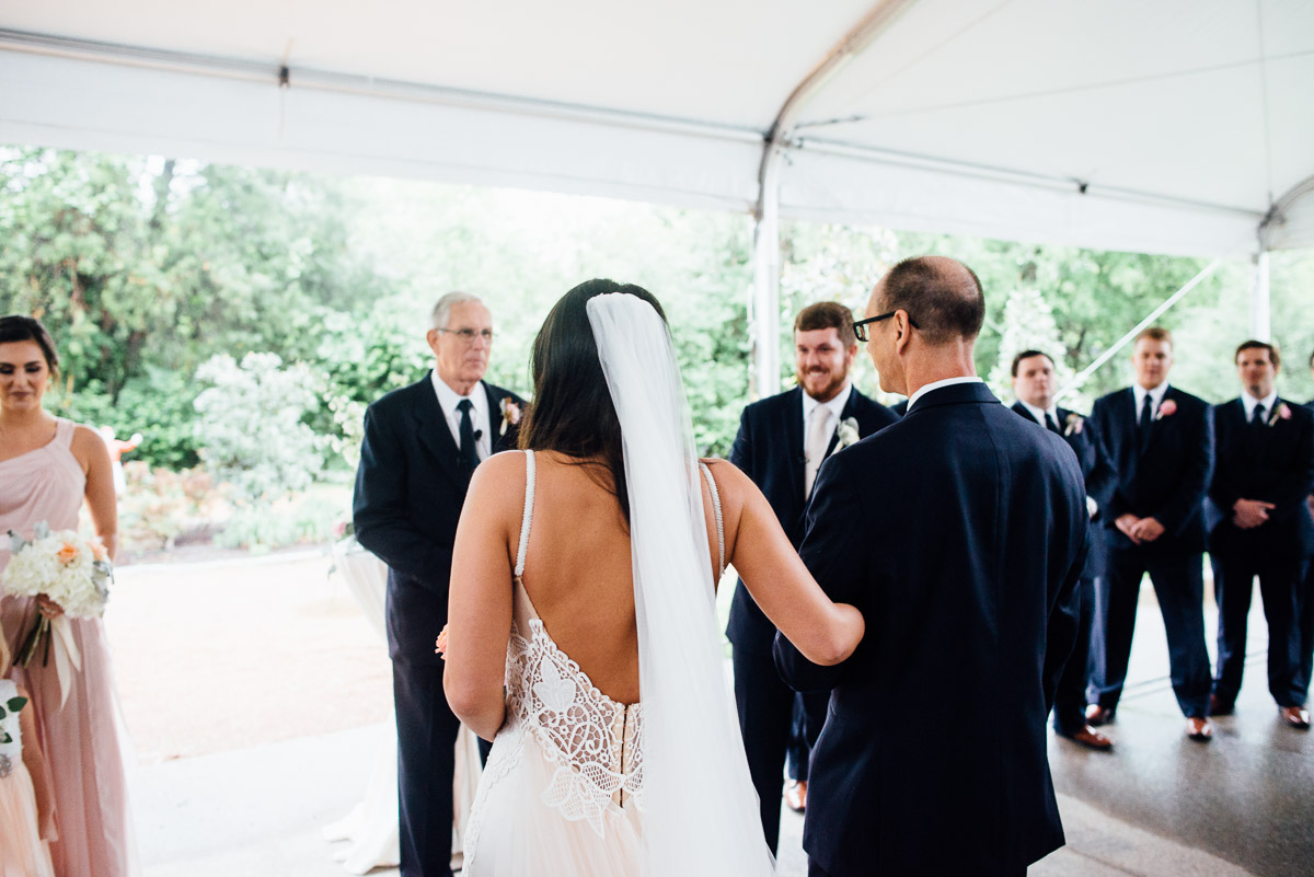father-walking-bride-down-aisle Belle Meade Plantation Wedding | Kendall and Andrew