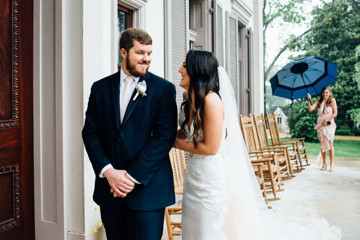 first-look-umbrella Belle Meade Plantation Wedding | Kendall and Andrew