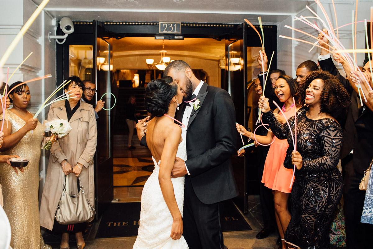 glow-stick-wedding-exit Hermitage Hotel Wedding | Barbara and Darrius