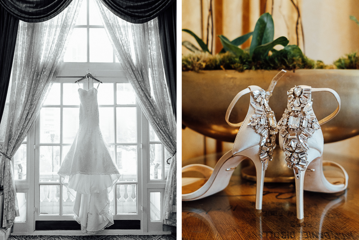 wedding-dress-and-shoes Hermitage Hotel Wedding | Barbara and Darrius