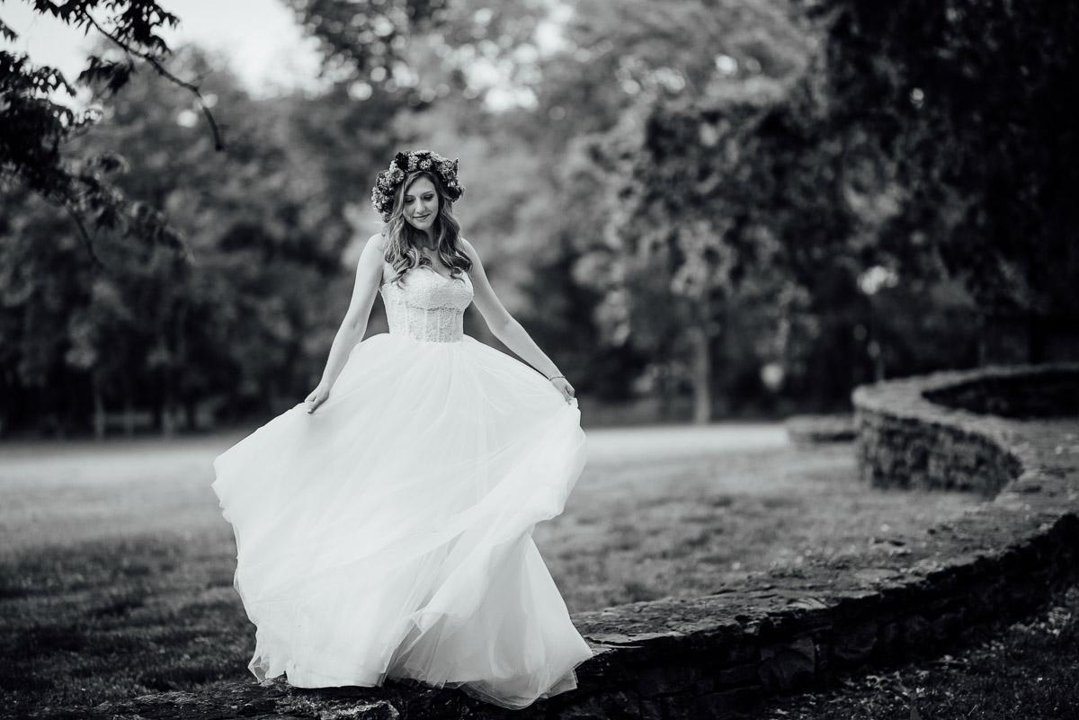 bride-dancing-in-dress Nashville Elopement Photographer | Percy Warner Park