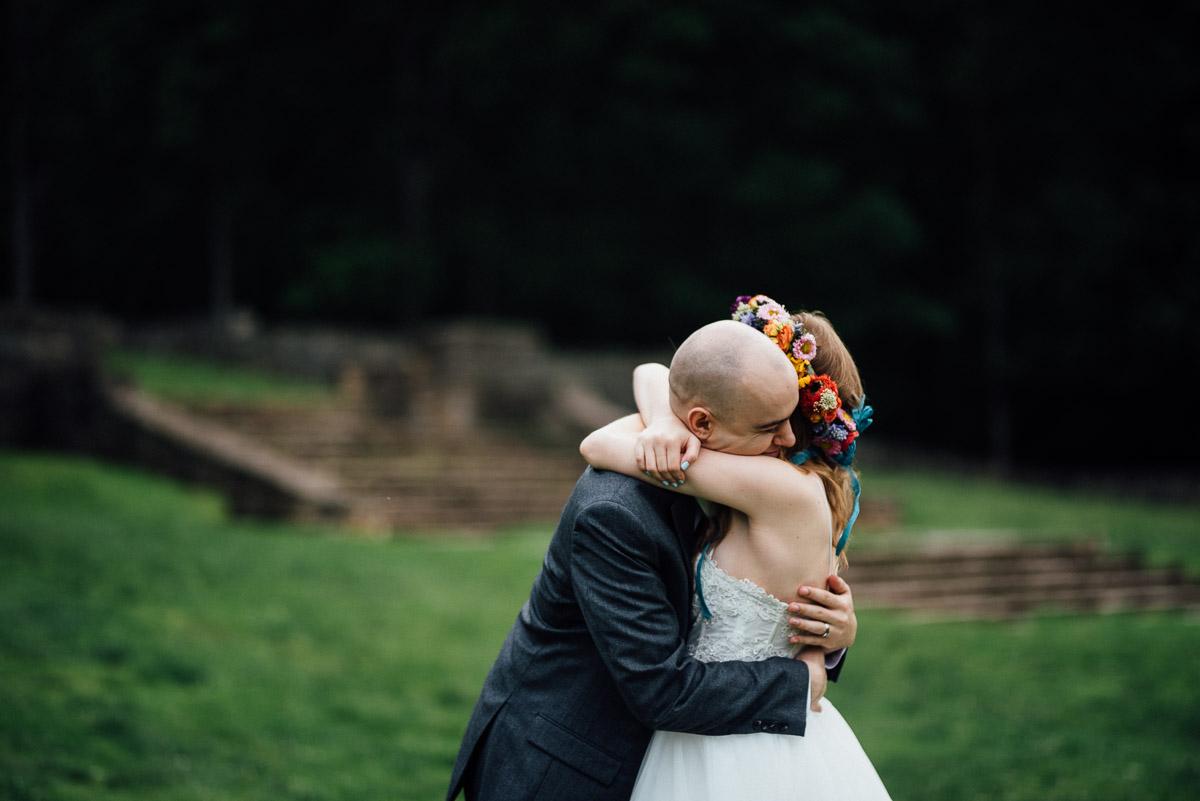 bride-groom-hugging Nashville Elopement Photographer | Percy Warner Park