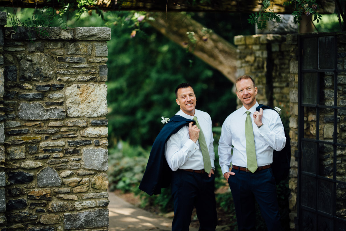 fun-grooms-portraits Cheekwood Garden Wedding | Tom and Guy