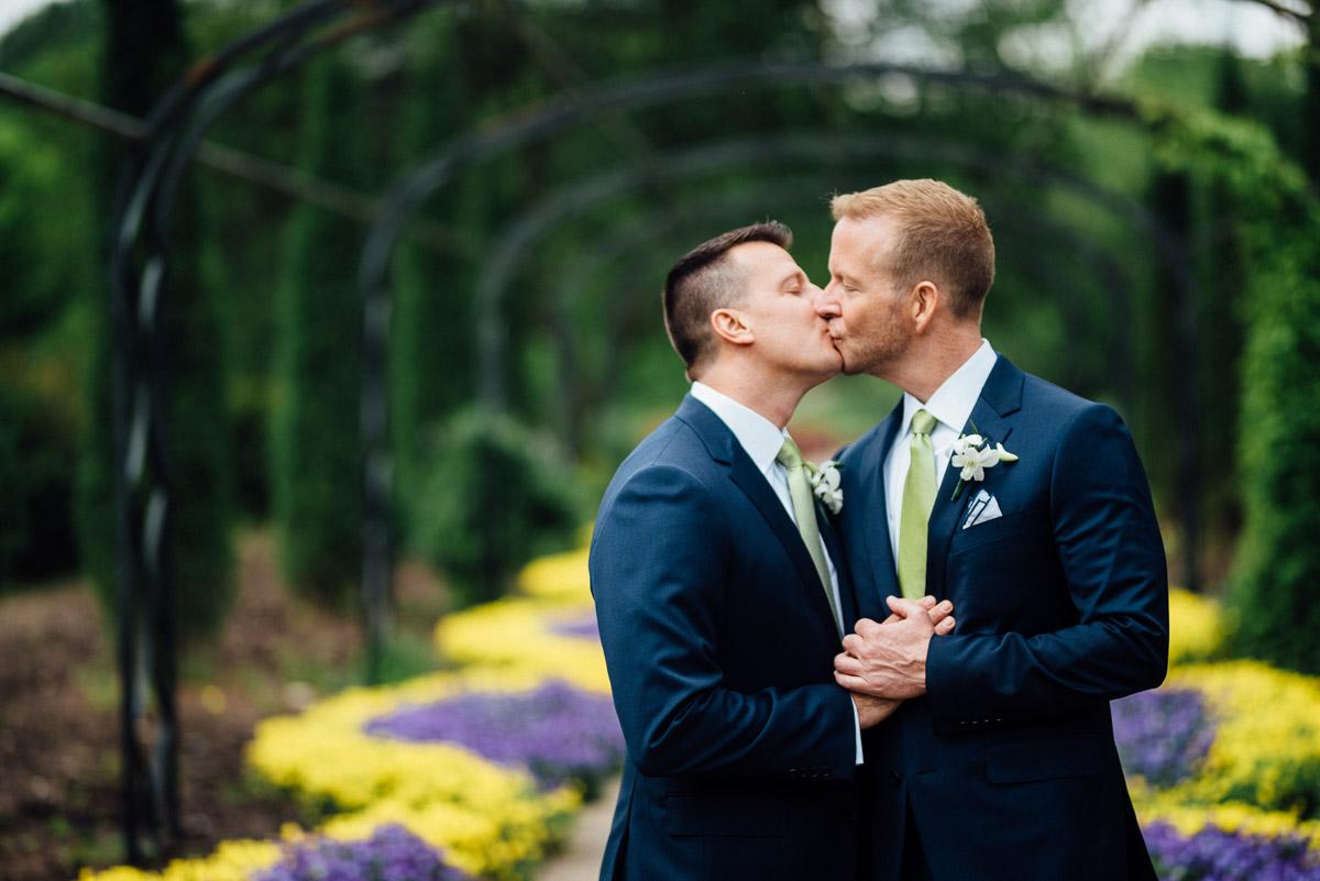gay-couple-kissing-wedding Cheekwood Garden Wedding | Tom and Guy