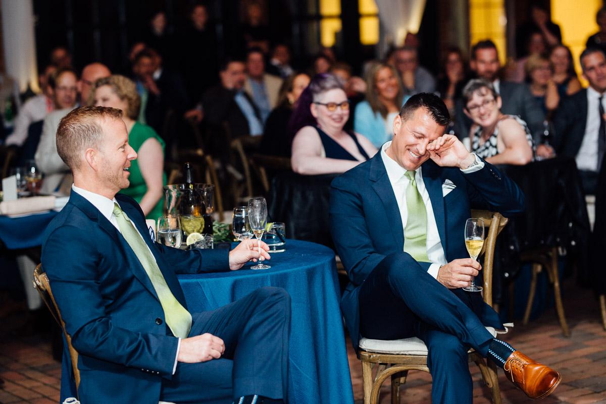 groom-laughing Cheekwood Garden Wedding | Tom and Guy