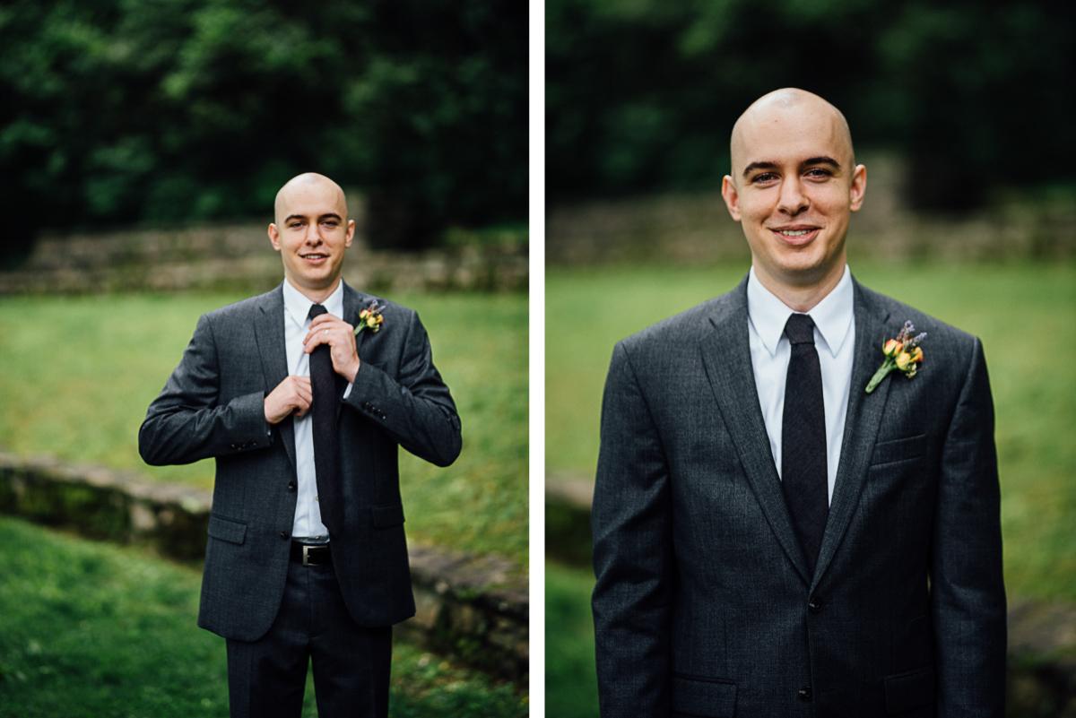groom-straightening-tie Nashville Elopement Photographer | Percy Warner Park