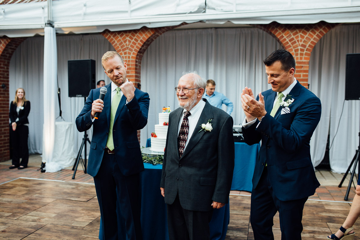 grooms-applauding Cheekwood Garden Wedding | Tom and Guy