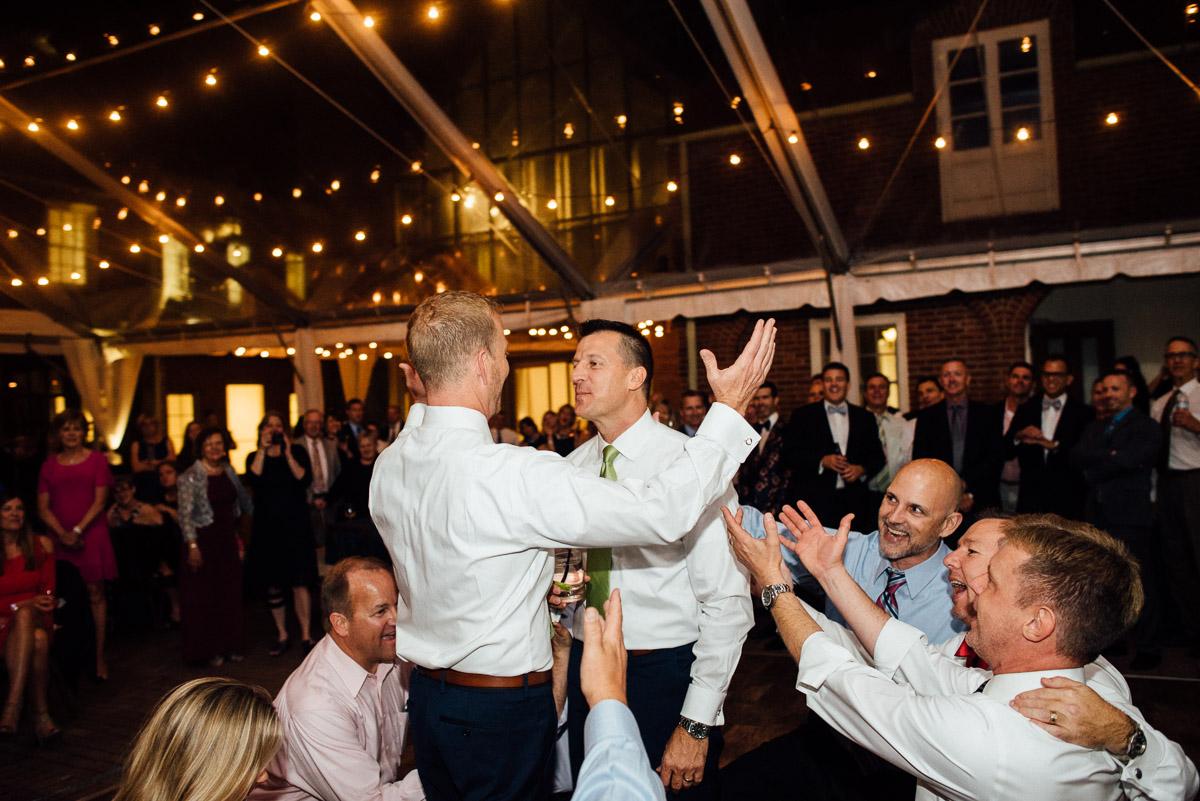 grooms-fraternity-song Cheekwood Garden Wedding | Tom and Guy