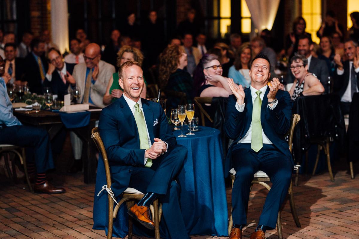 grooms-reaction-toasts Cheekwood Garden Wedding | Tom and Guy