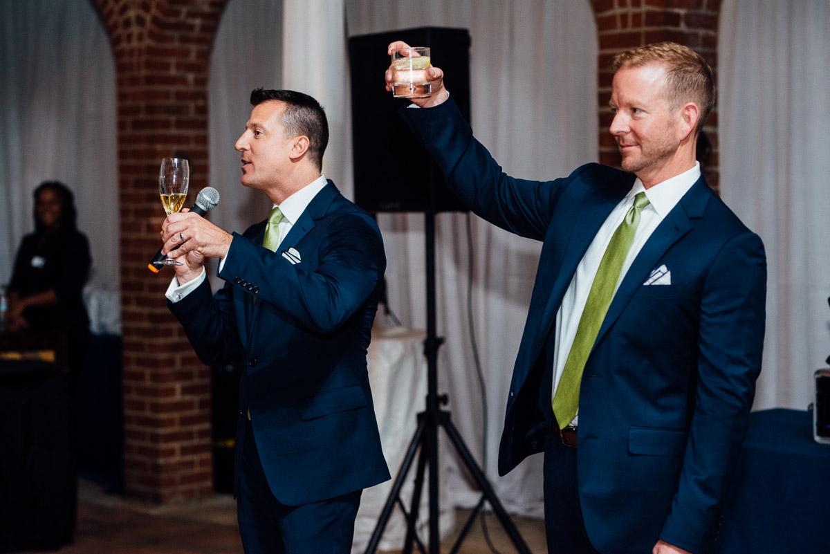 grooms-toasting Cheekwood Garden Wedding | Tom and Guy