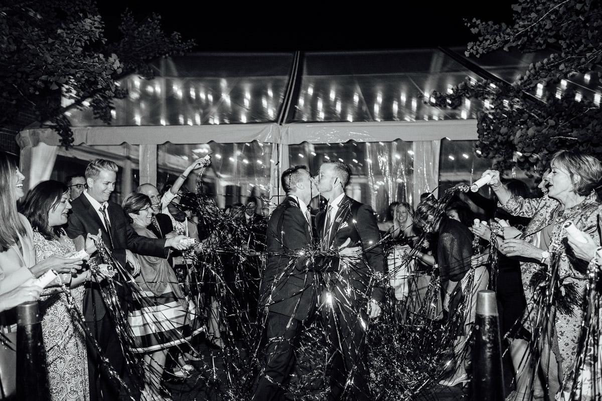 streamer-exit Cheekwood Garden Wedding | Tom and Guy
