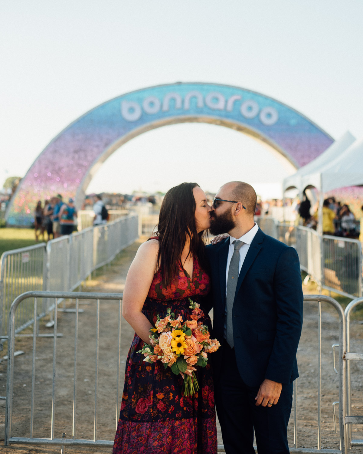 bonnaroo-arch-kiss Bonnaroo Music Festival Wedding | James and Jen
