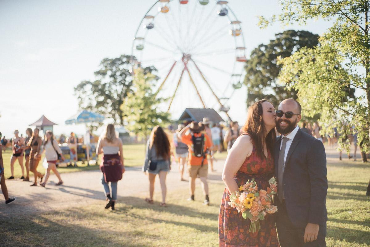 bonnaroo-kiss Bonnaroo Music Festival Wedding | James and Jen