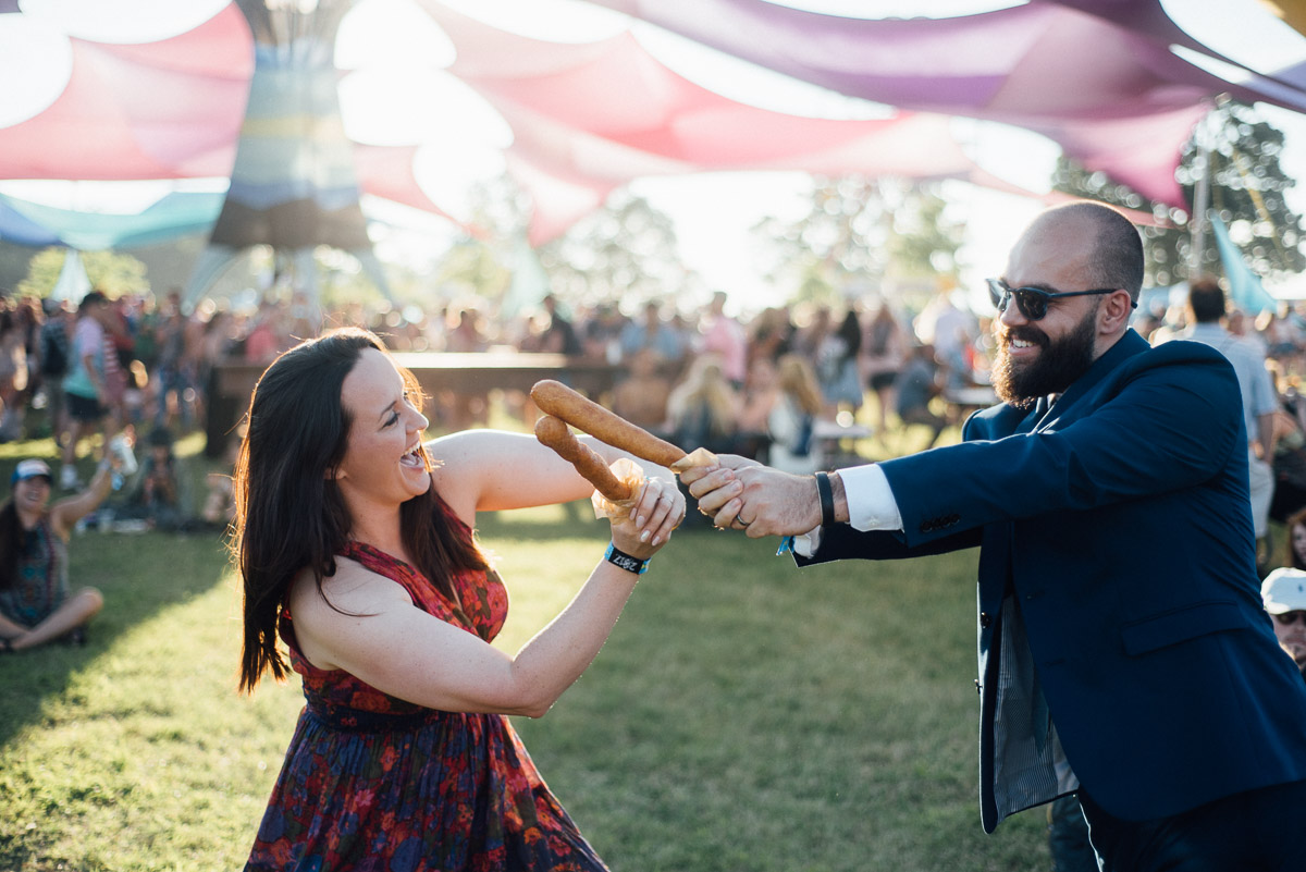 corndog-fight Bonnaroo Music Festival Wedding | James and Jen