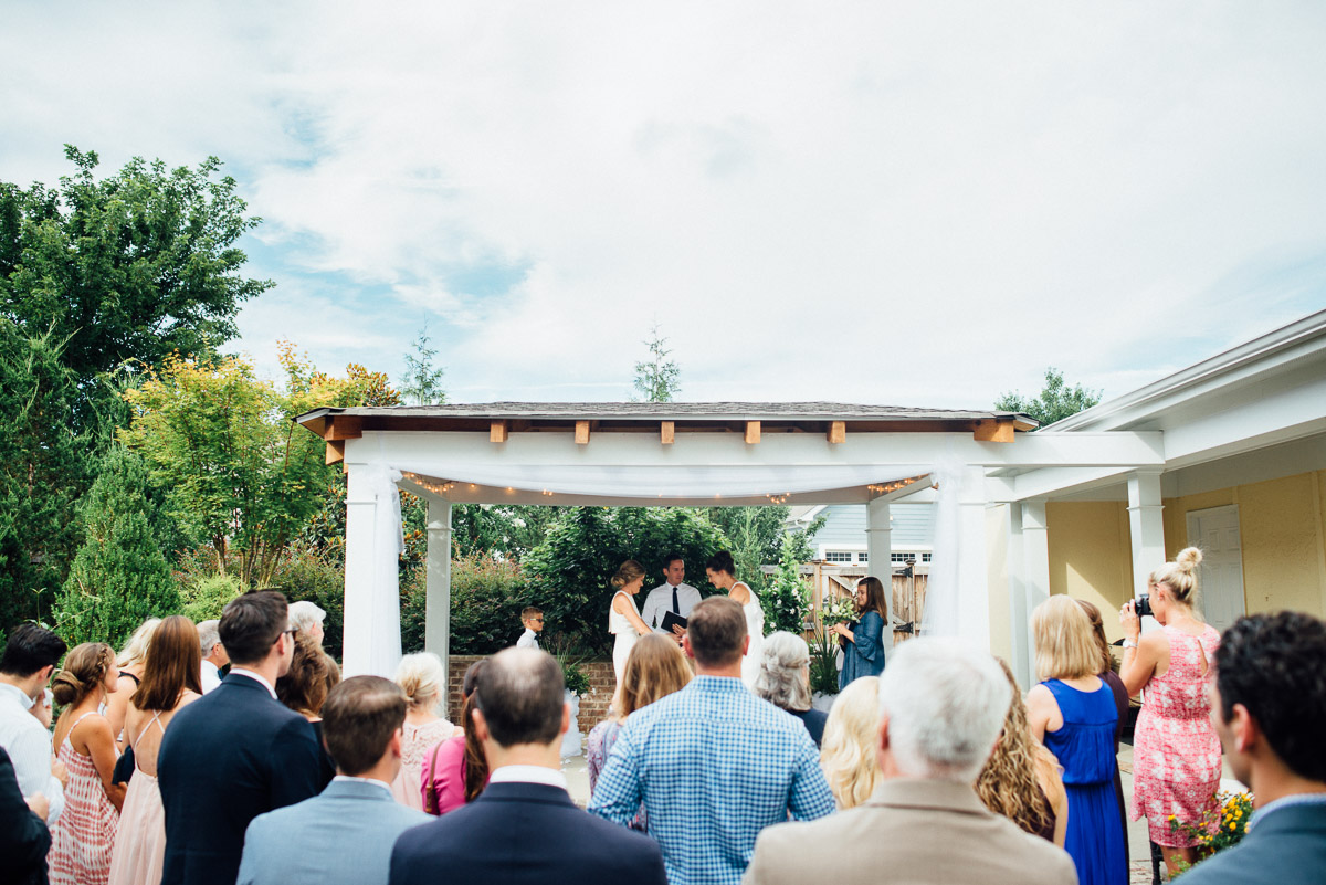 backyard-wedding-ceremony Becky and Kelly | Intimate Backyard Wedding