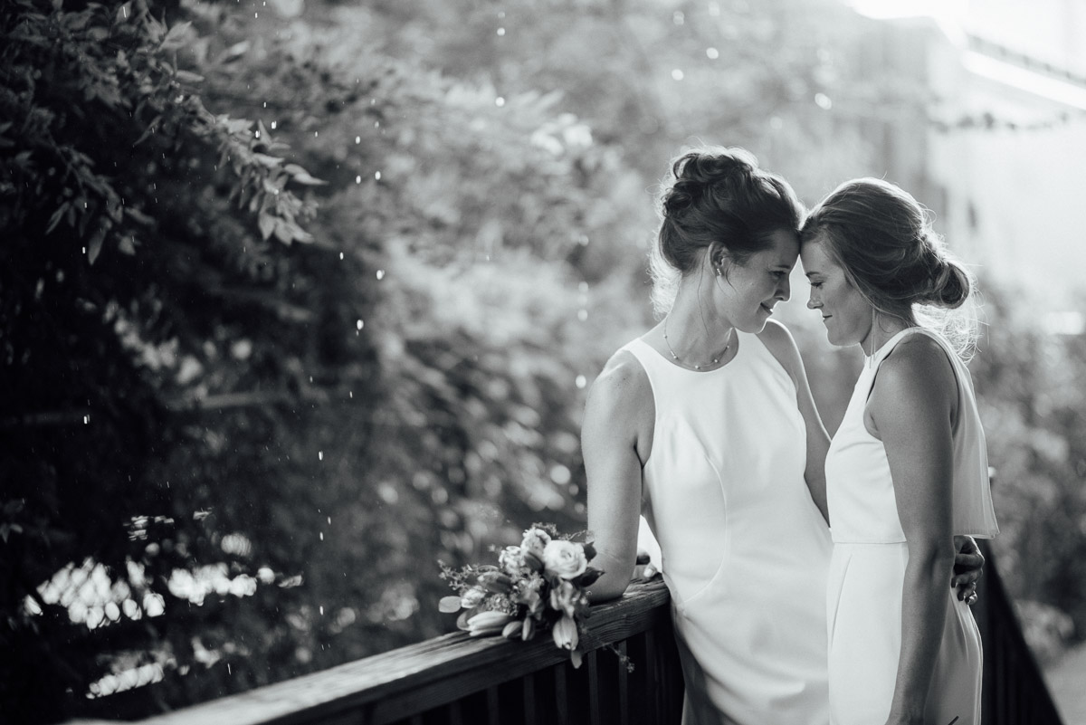 bridal-posing Becky and Kelly | Intimate Backyard Wedding