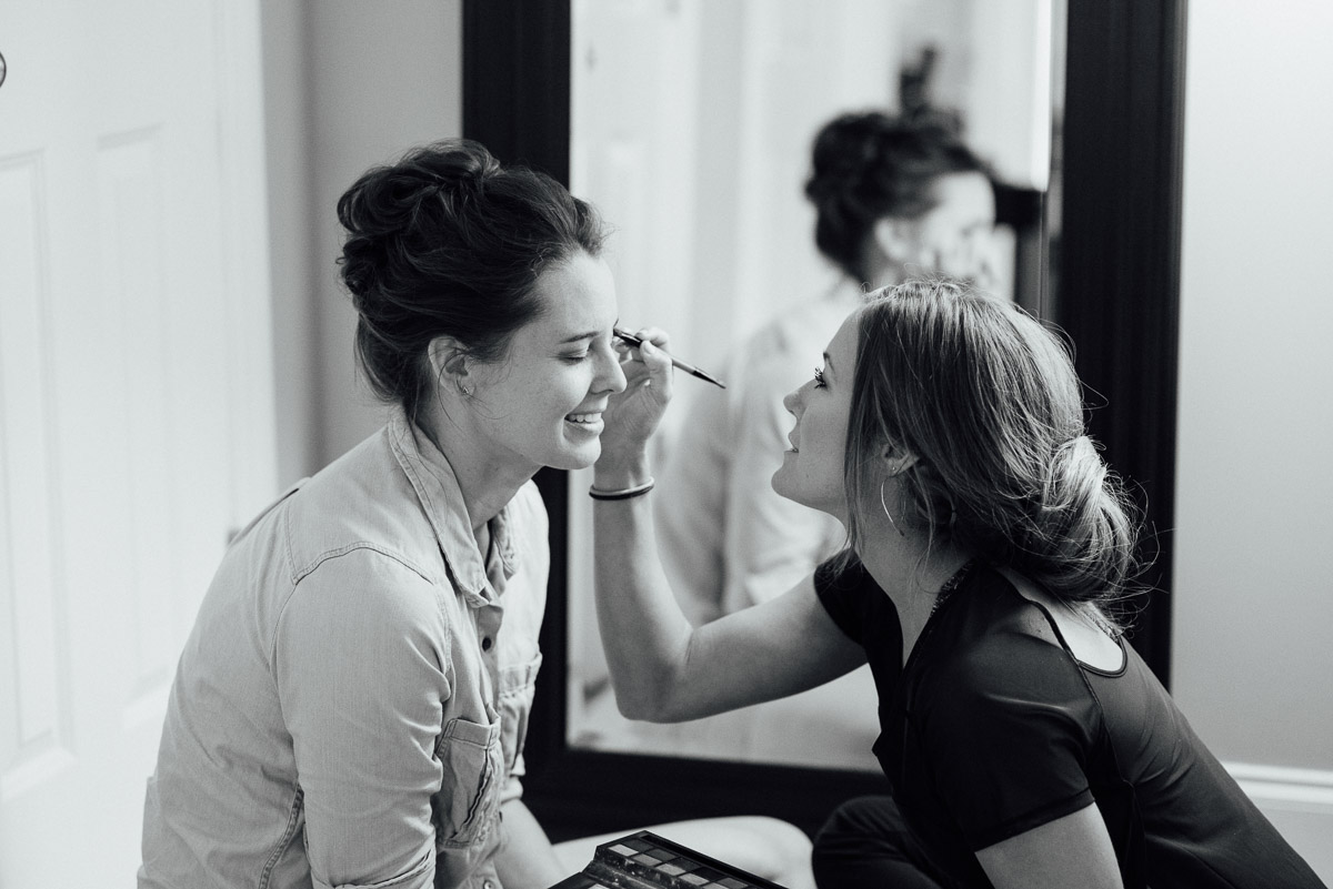 bride-getting-makeup-done Becky and Kelly | Intimate Backyard Wedding