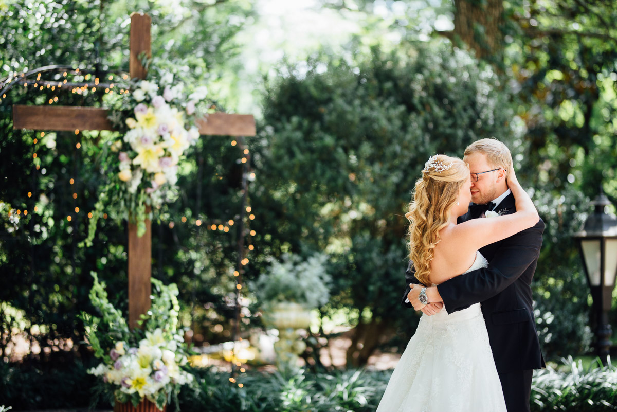 bride-groom-first-look Riverwood Mansion Wedding | Ashley and Kirk | Nashville, TN