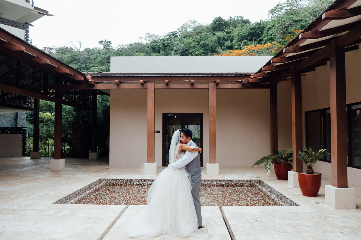 bride-groom-hug Costa Rica Destination Wedding