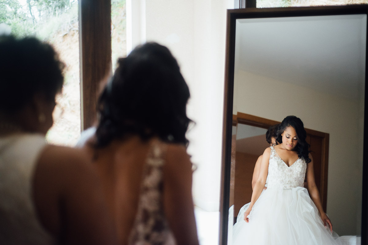 bride-in-mirror Costa Rica Destination Wedding