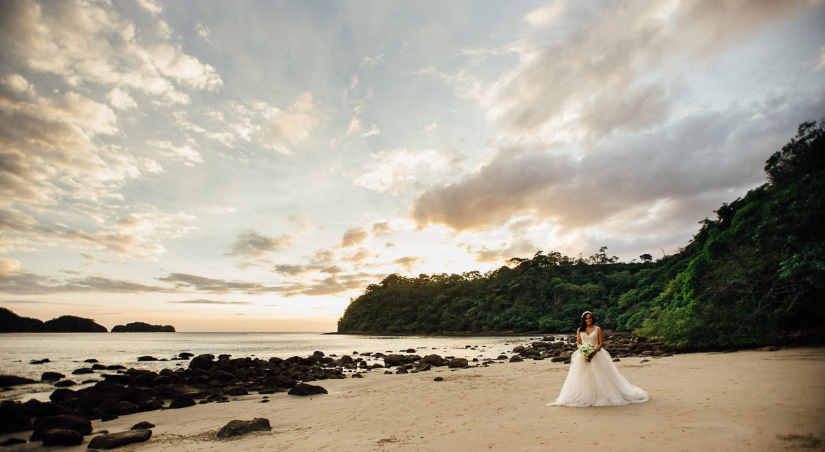 bride-on-beach-sunset Costa Rica Destination Wedding