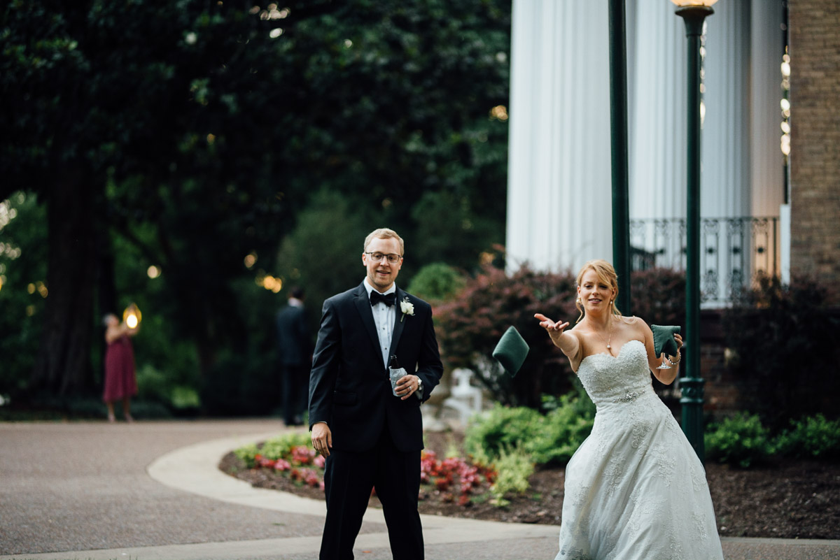 bride-playing-cornhole Riverwood Mansion Wedding | Ashley and Kirk | Nashville, TN