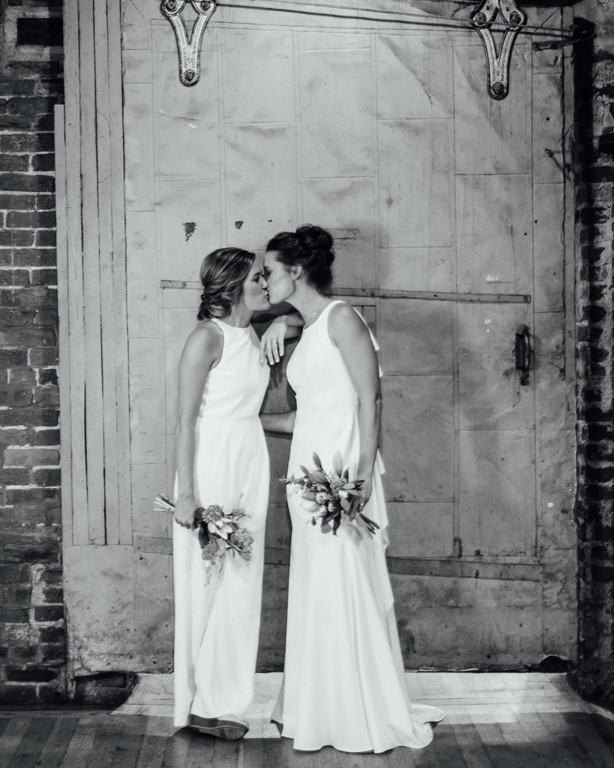 brides-at-cannery Becky and Kelly | Intimate Backyard Wedding