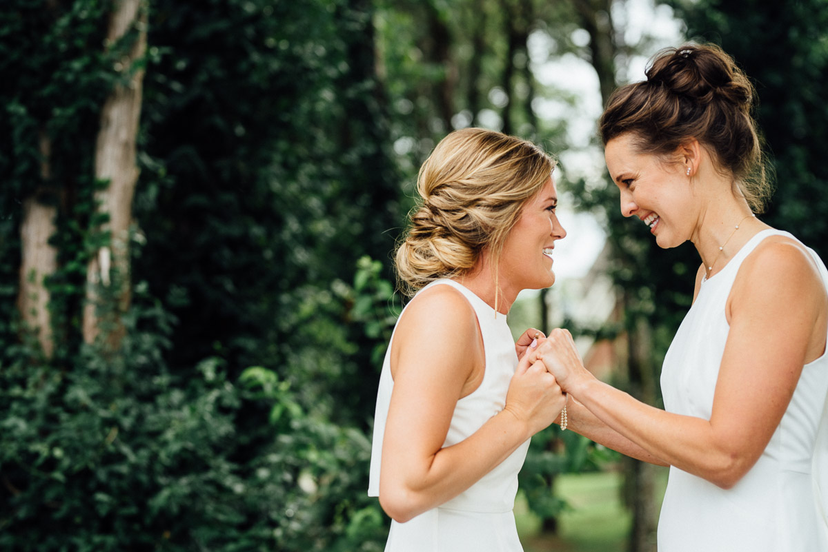 first-look-2 Becky and Kelly | Intimate Backyard Wedding