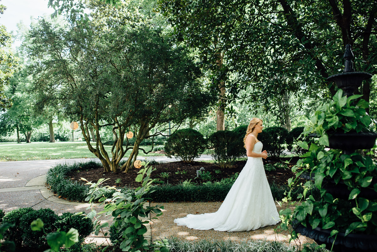 first-look-walking Riverwood Mansion Wedding | Ashley and Kirk | Nashville, TN