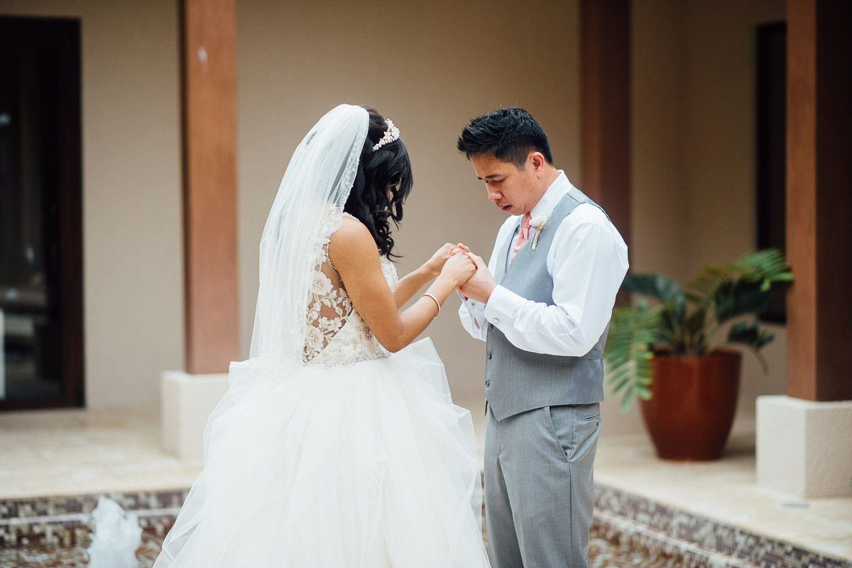 firstlook-wedding-prayer Costa Rica Destination Wedding