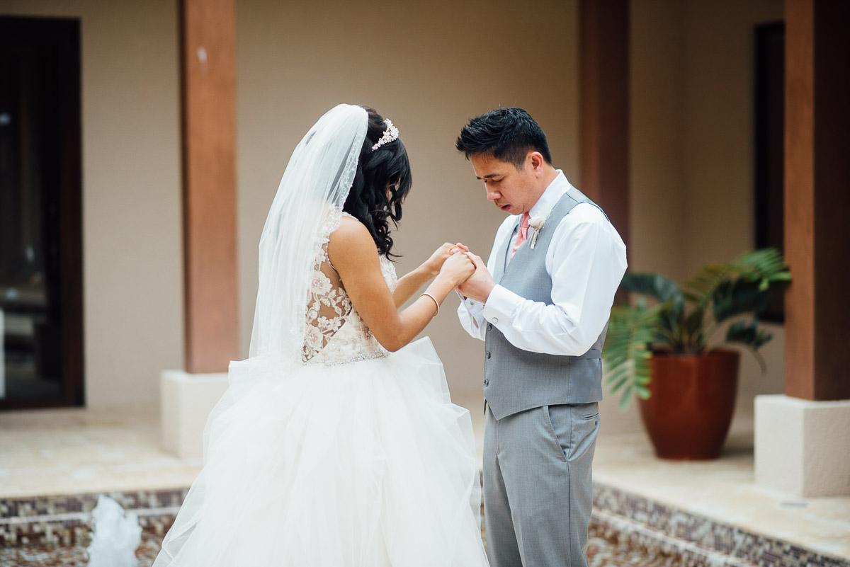 firstlook-wedding-prayer Costa Rica Destination Wedding
