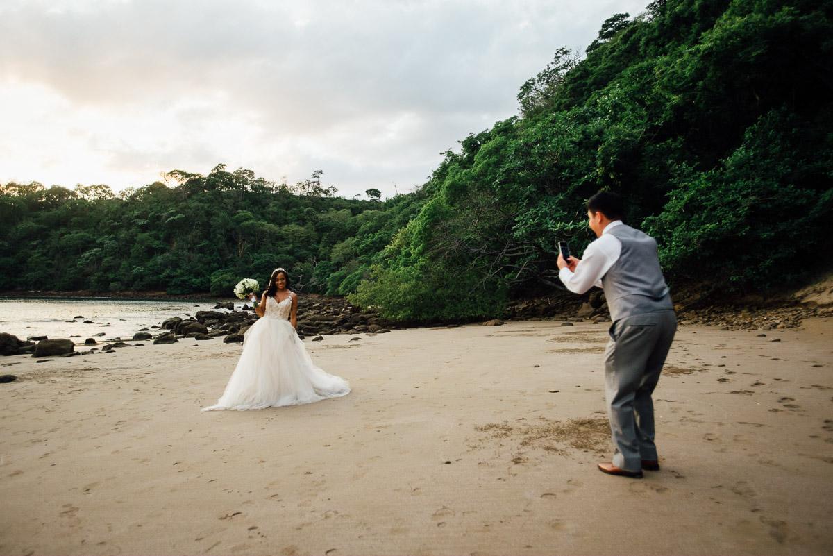groom-photographing-bride Costa Rica Destination Wedding