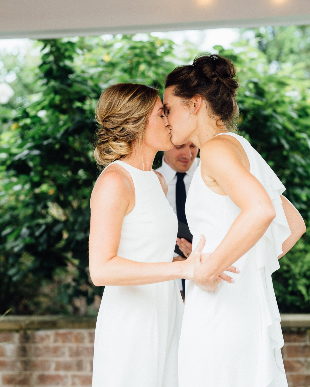 lesbian-wedding-kiss Becky and Kelly | Intimate Backyard Wedding