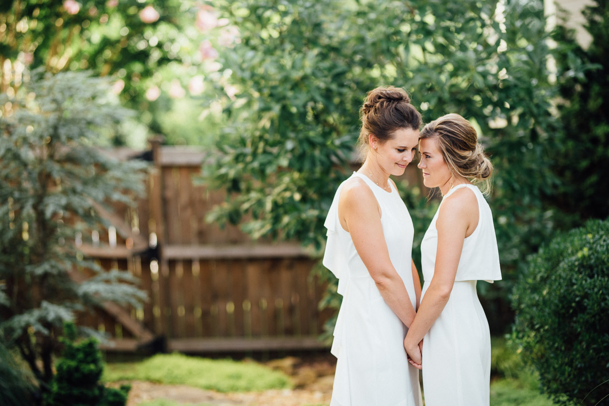 lesbian-wedding-poses Becky and Kelly | Intimate Backyard Wedding