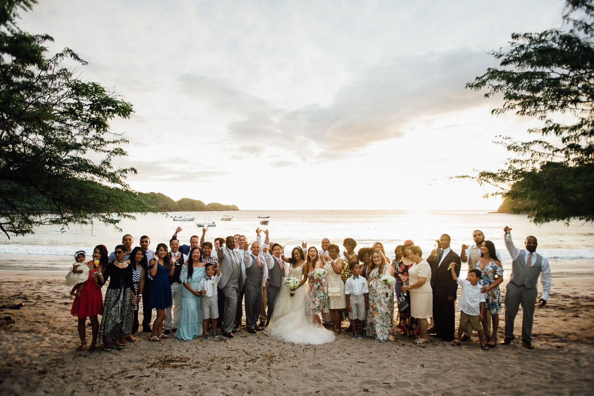 wedding-party-beach Costa Rica Destination Wedding