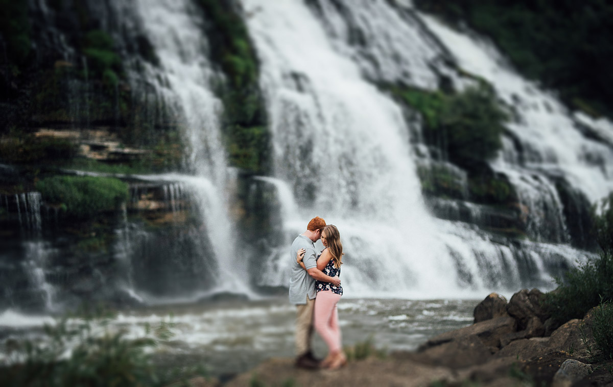 epic-waterfall-engagement Rock Island State Park Engagement Photos
