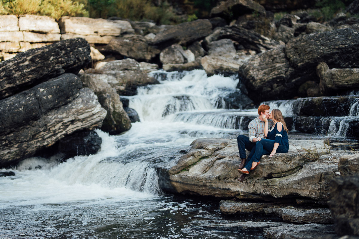 hand-on-face Rock Island State Park Engagement Photos