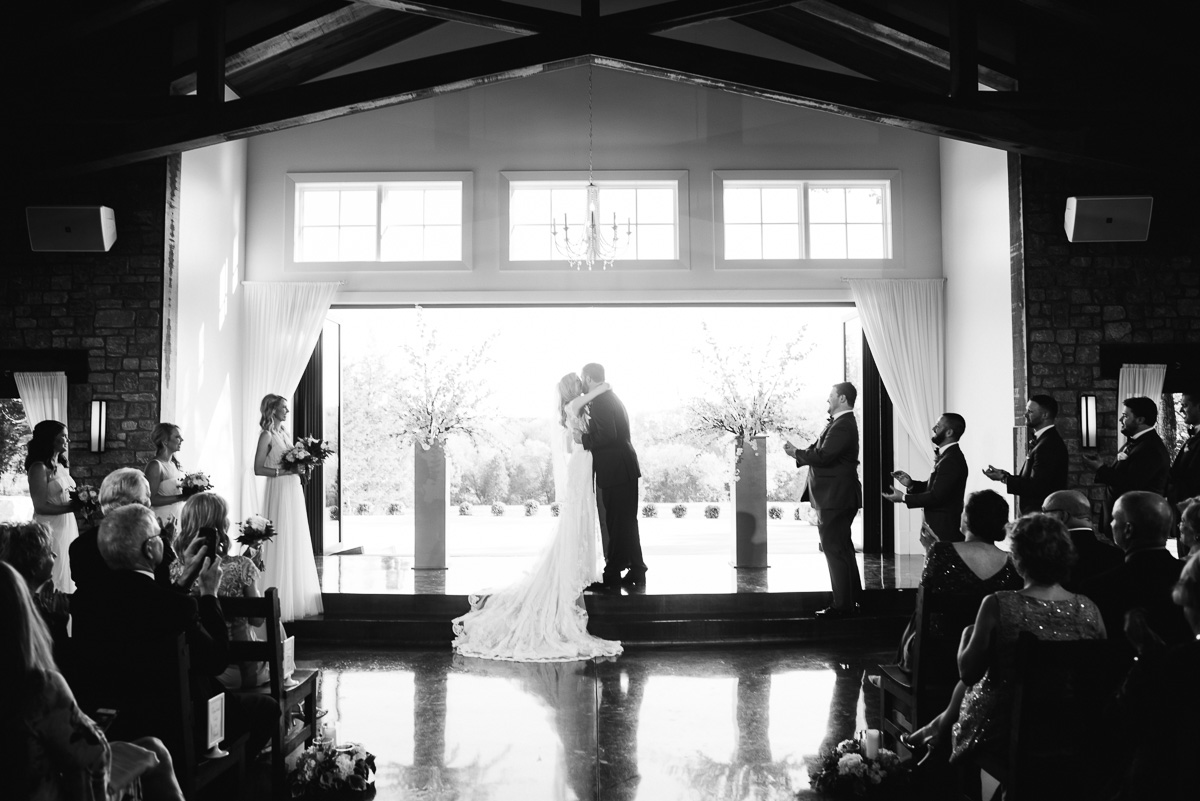 first-kiss-black-and-white Graystone Quarry Wedding   Brad and Nicole