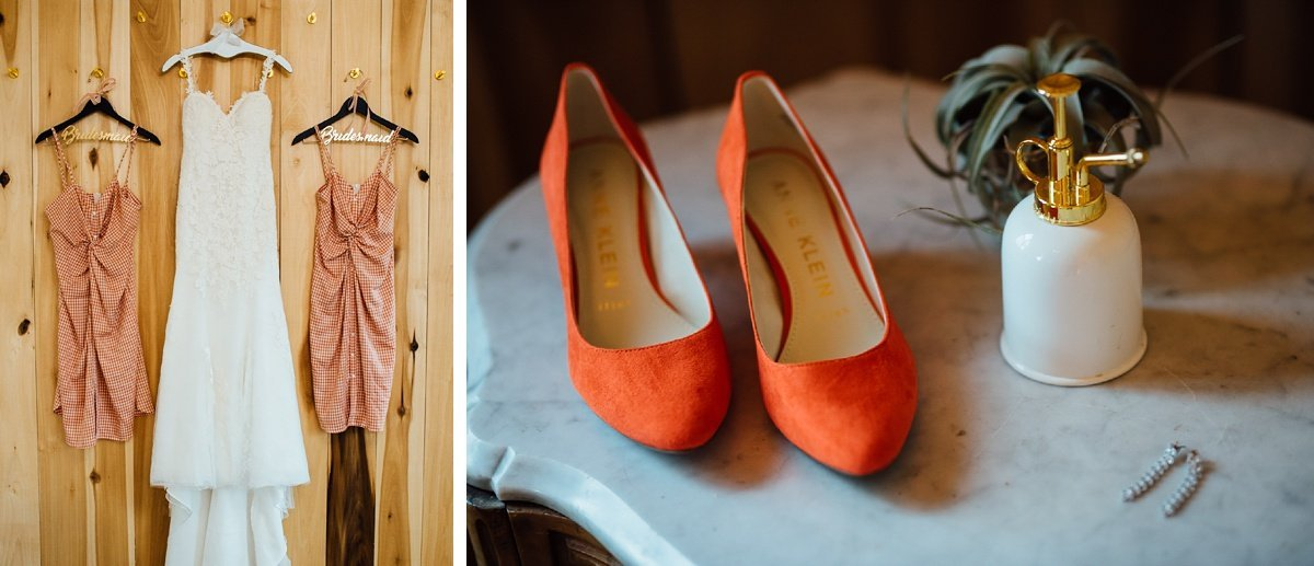 bridesmaid-dresses-hanging Allenbrooke Farms | Spring Hill TN Wedding | Sam and Kaleb