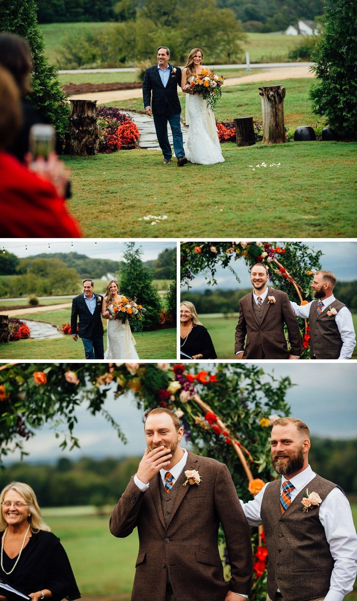 groom-reaction-to-bride Allenbrooke Farms | Spring Hill TN Wedding | Sam and Kaleb