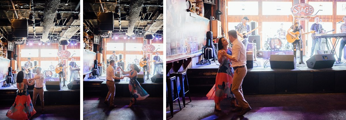 couple-dancing-at-stage-broadway Downtown Nashville Engagement Session
