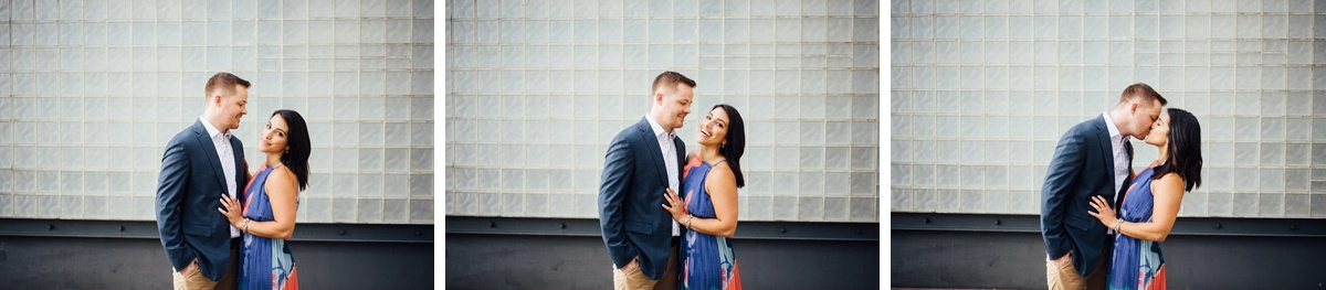 couple-kissing Downtown Nashville Engagement Session