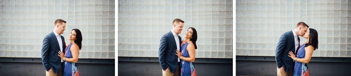 couple-kissing Downtown Nashville Engagement Session