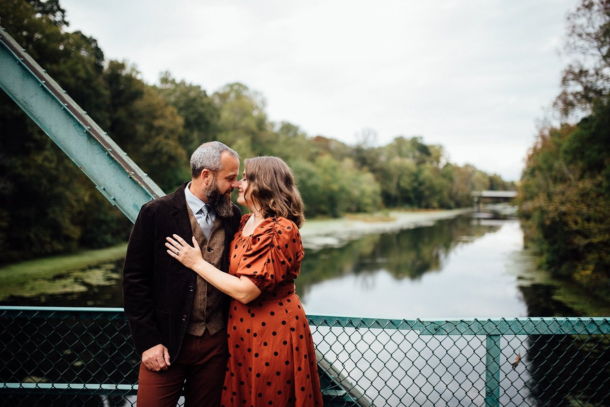 couple-nose-to-nose Woods and Waterfalls Engagement Session