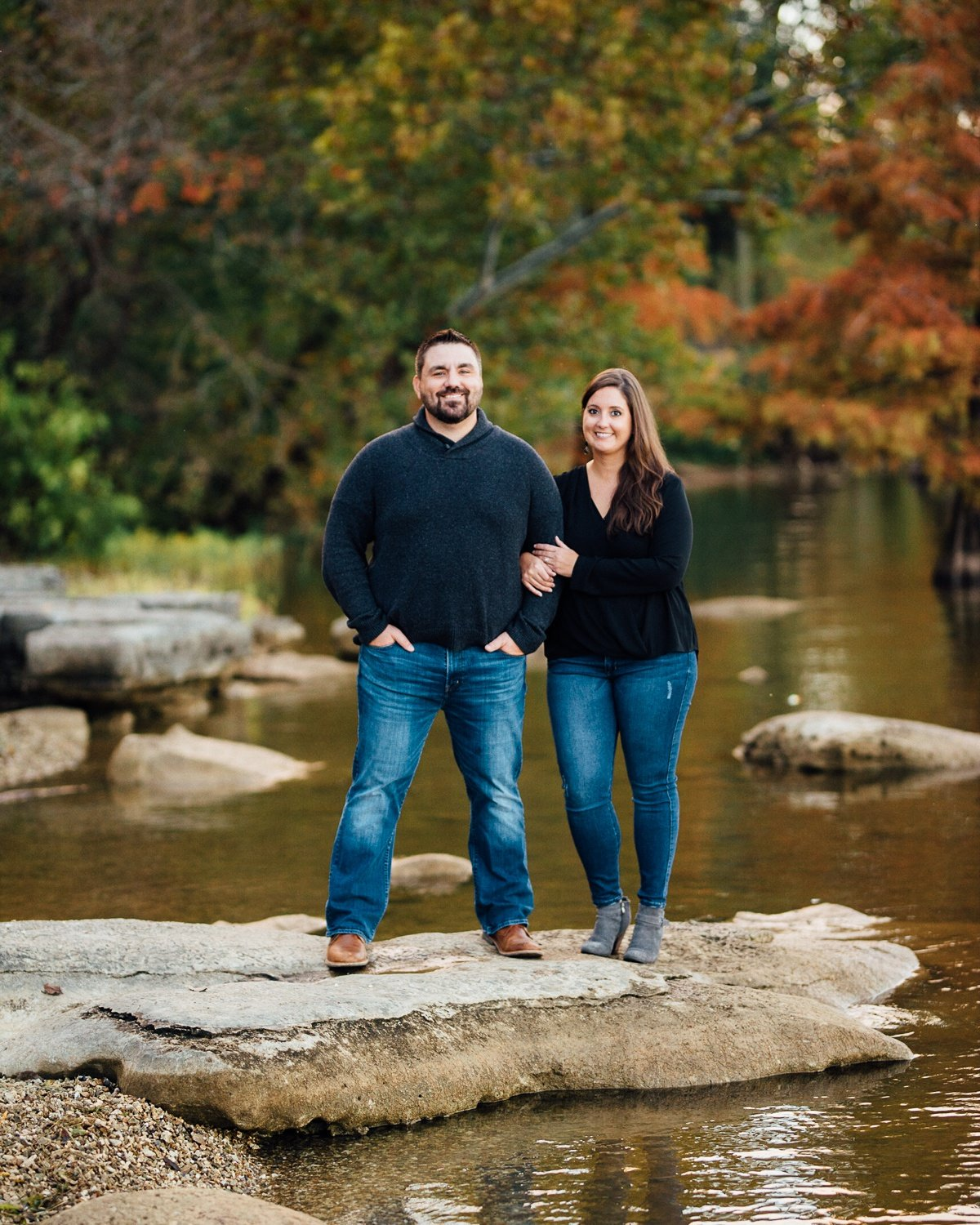 couple-on-rocks Percy Priest Lake Engagement Photos
