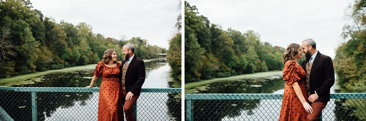 couple-over-river Woods and Waterfalls Engagement Session