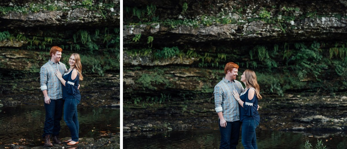 couple-poses Rock Island Waterfall Engagement Session