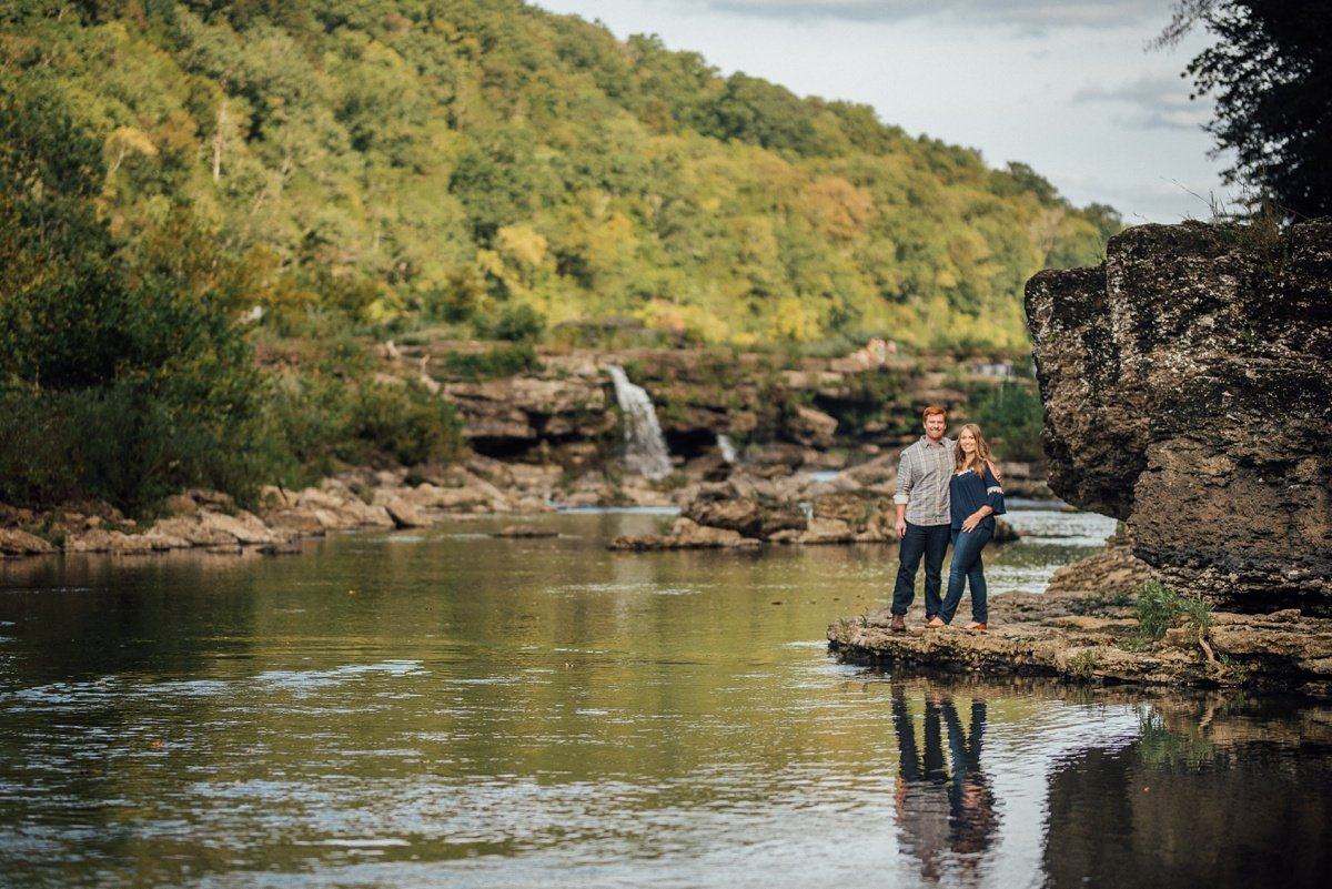 couple-reflection-shot Rock Island Waterfall Engagement Session