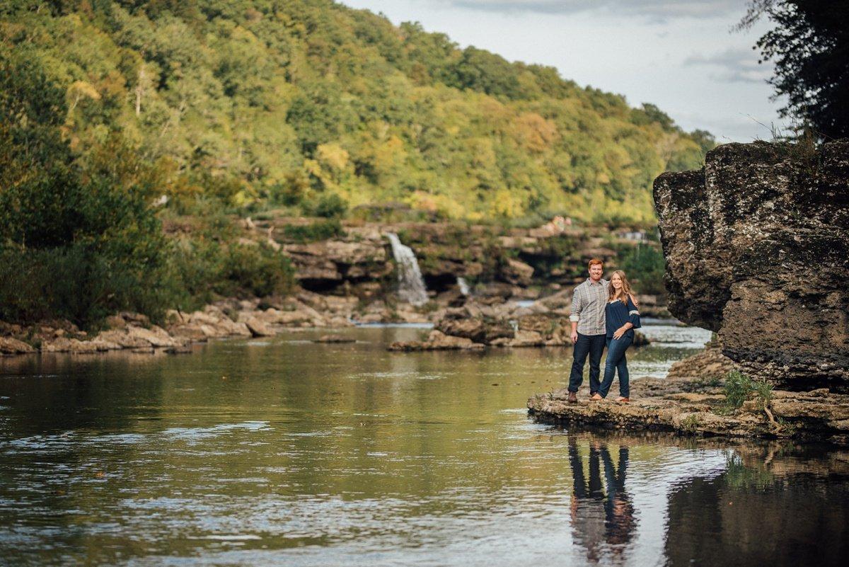 couple-reflection-shot Rock Island Waterfall Engagement Session