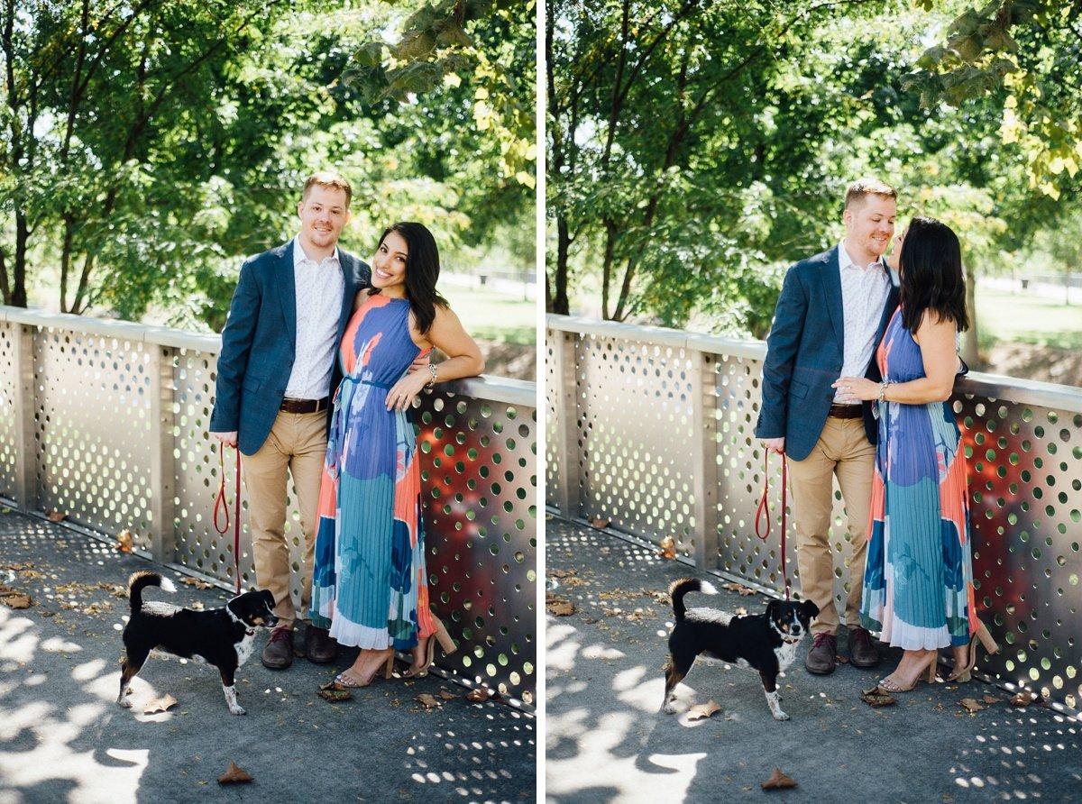 couple-with-their-dog Downtown Nashville Engagement Session